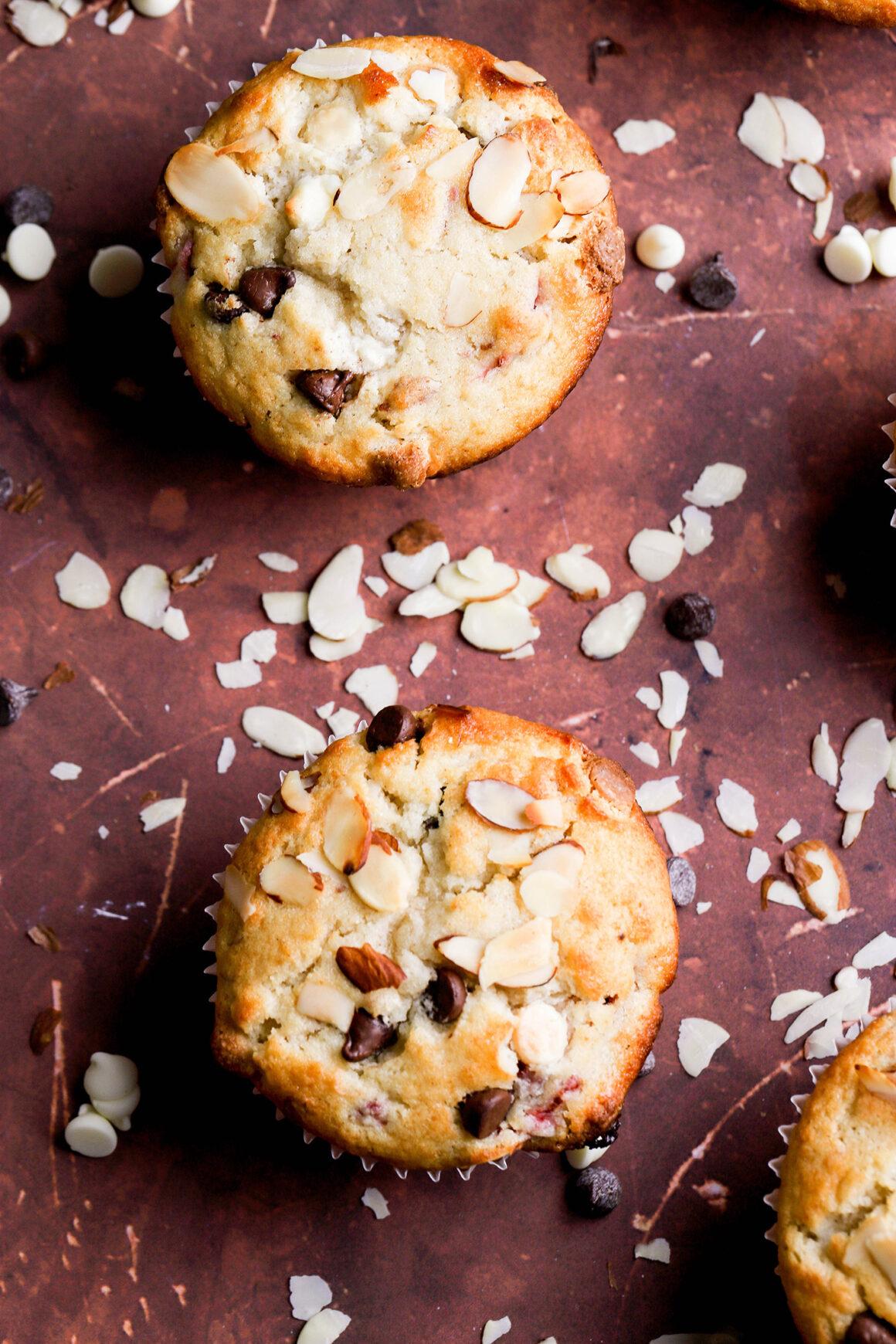 raspberry almond muffin closeup