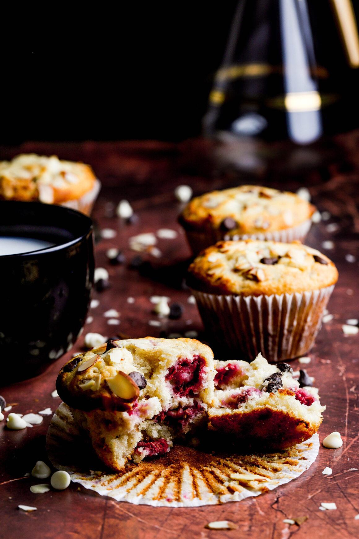 chocolate raspberry almond muffins