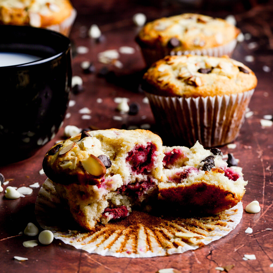 double chocolate raspberry almond muffins