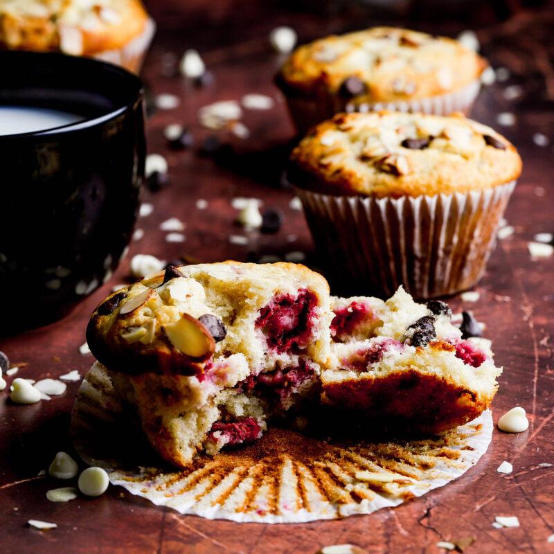 double chocolate raspberry almond muffins