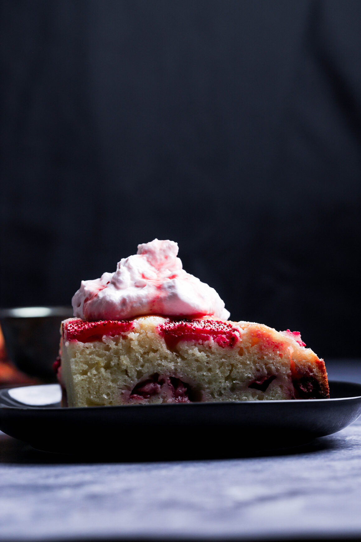 strawberry cake  with strawberry whipped cream