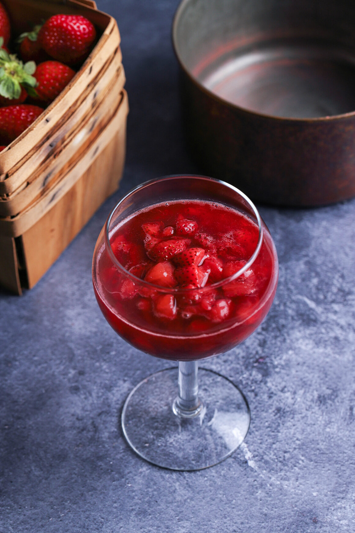 strawberry sauce in tall glass