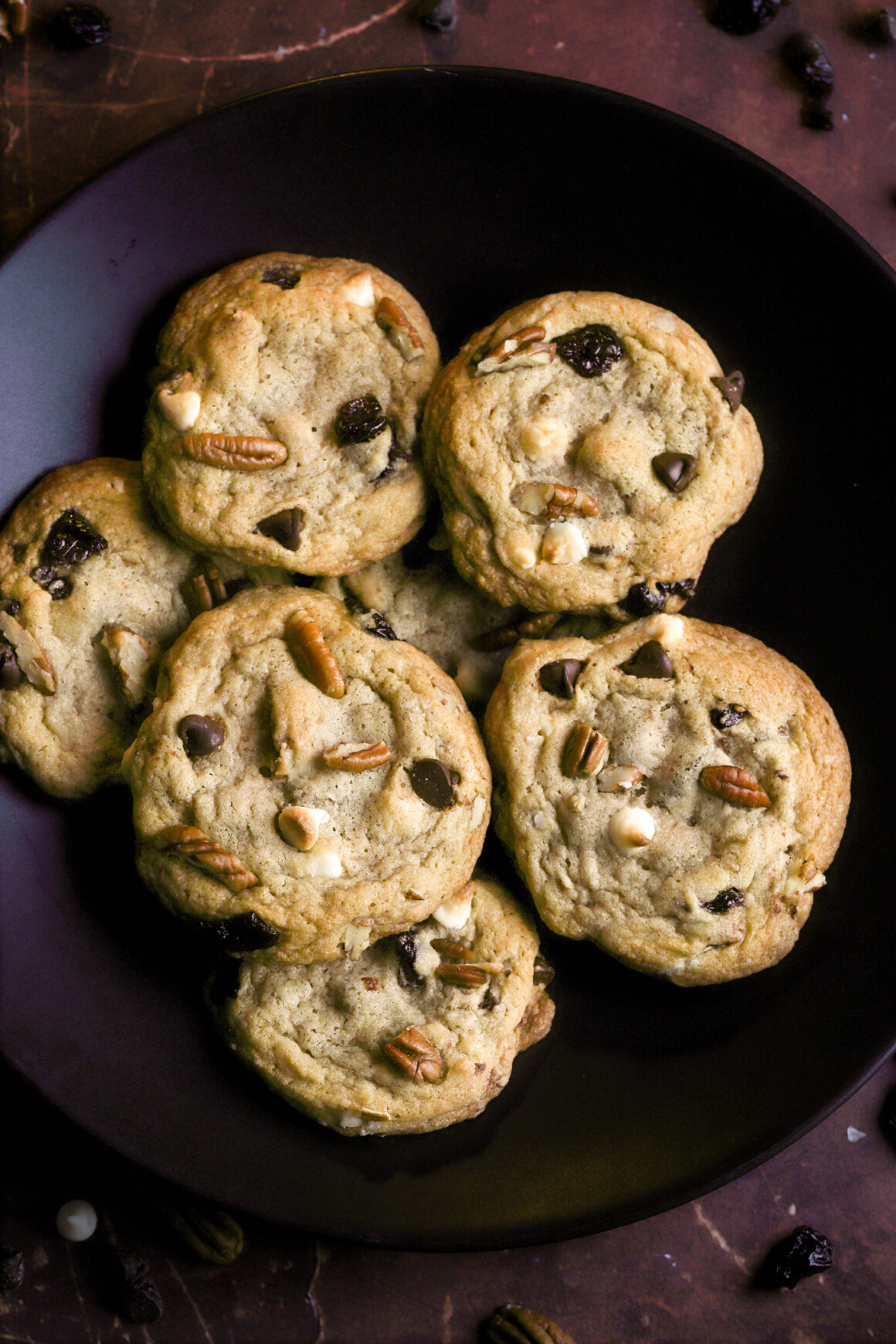 bowl of cherry chocolate chip cookies