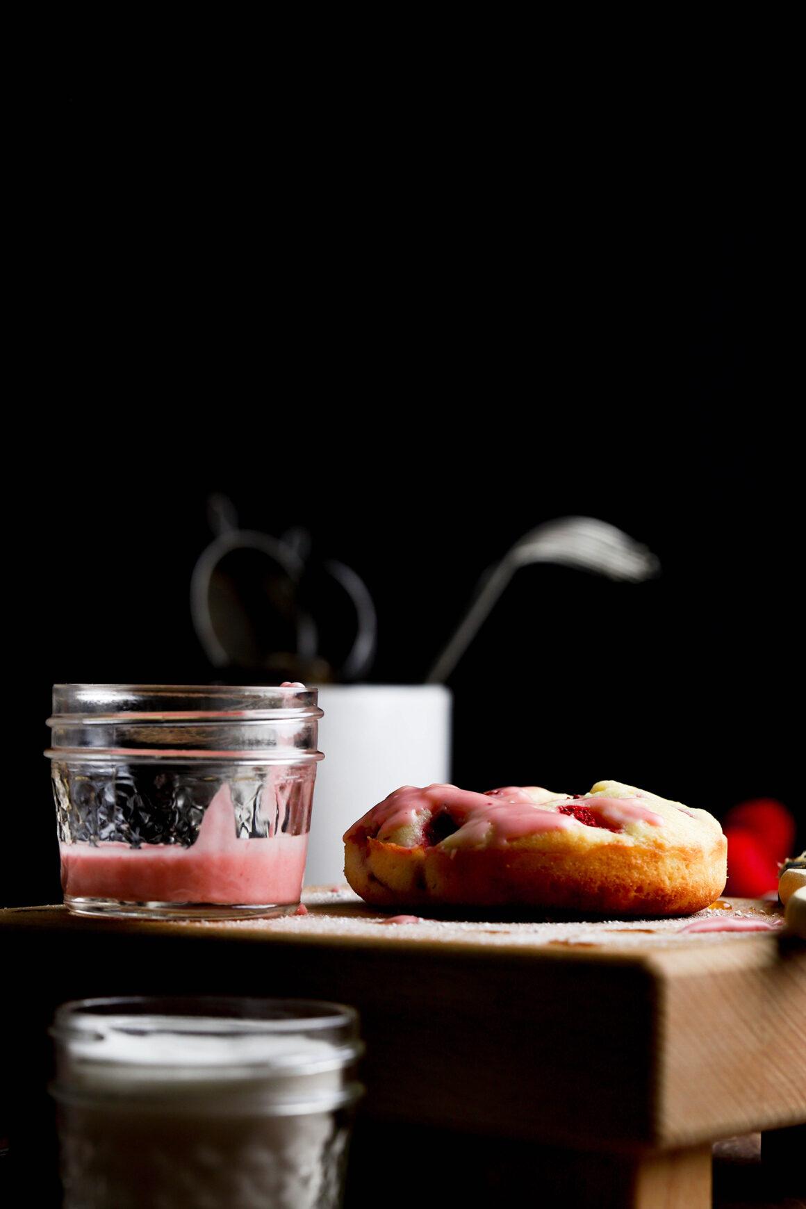 strawberry doughnut with strawberry glaze