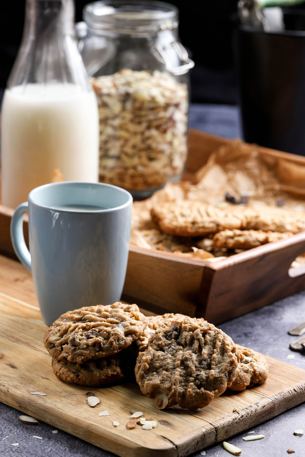 almond butter cookies and milk