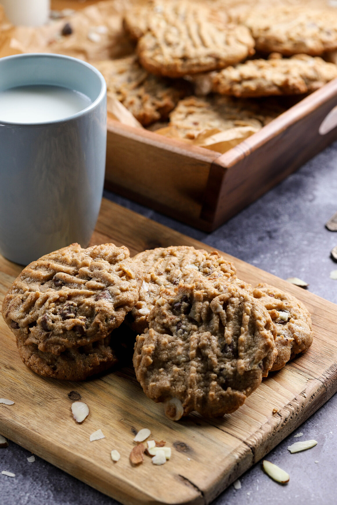 almond butter cookies with almonds
