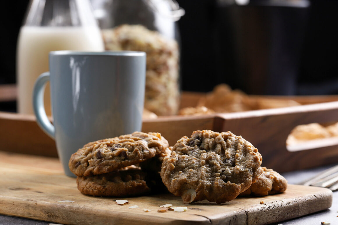 almond butter cookies with chocolate