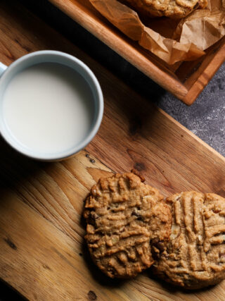 almond butter cookies with almond and chocolate chips