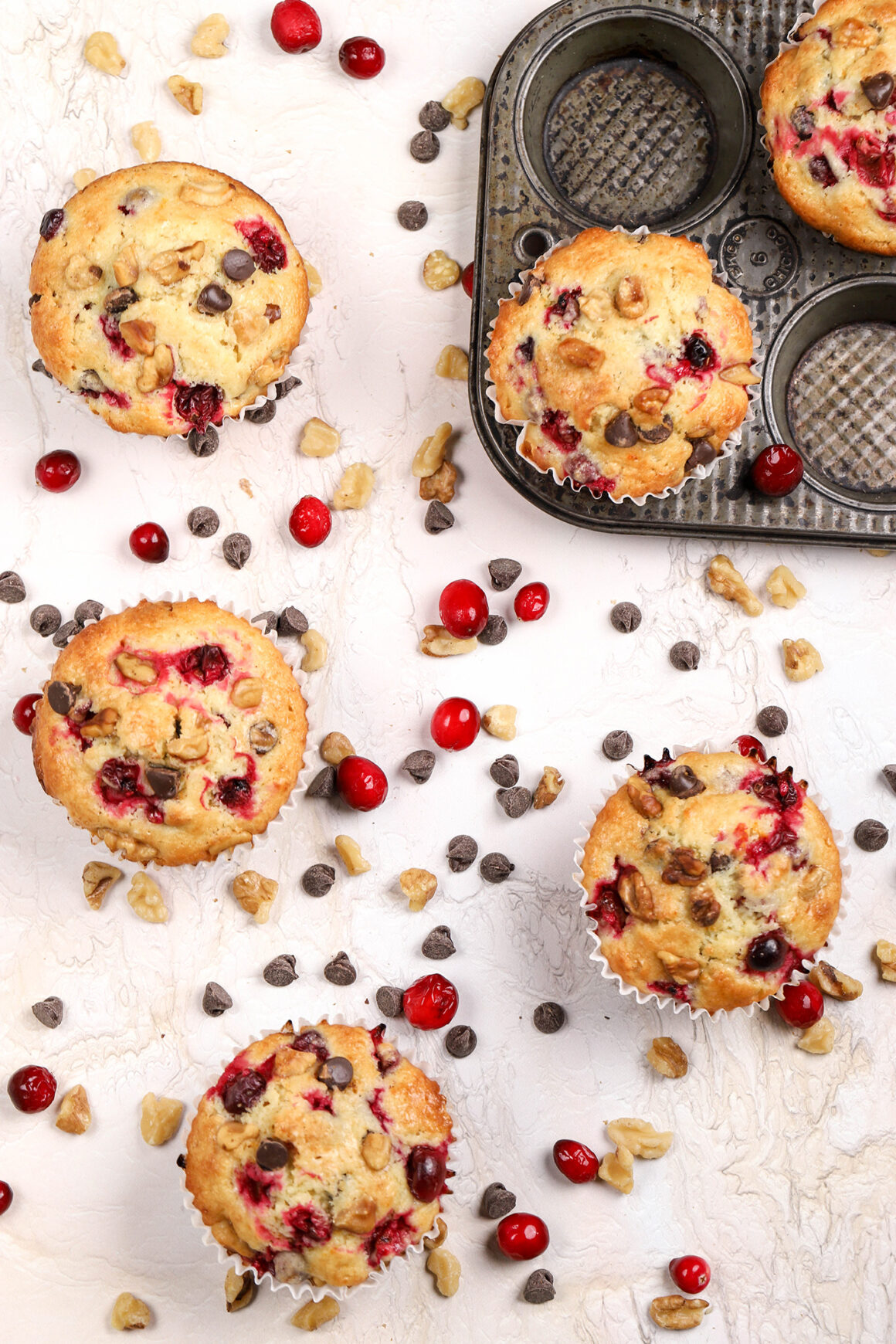 jumbo orange muffins with cranberries and walnuts