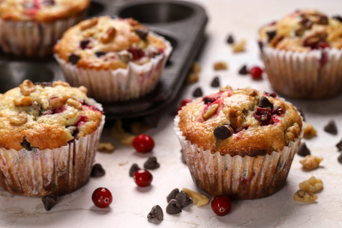 orange muffins with cranberries