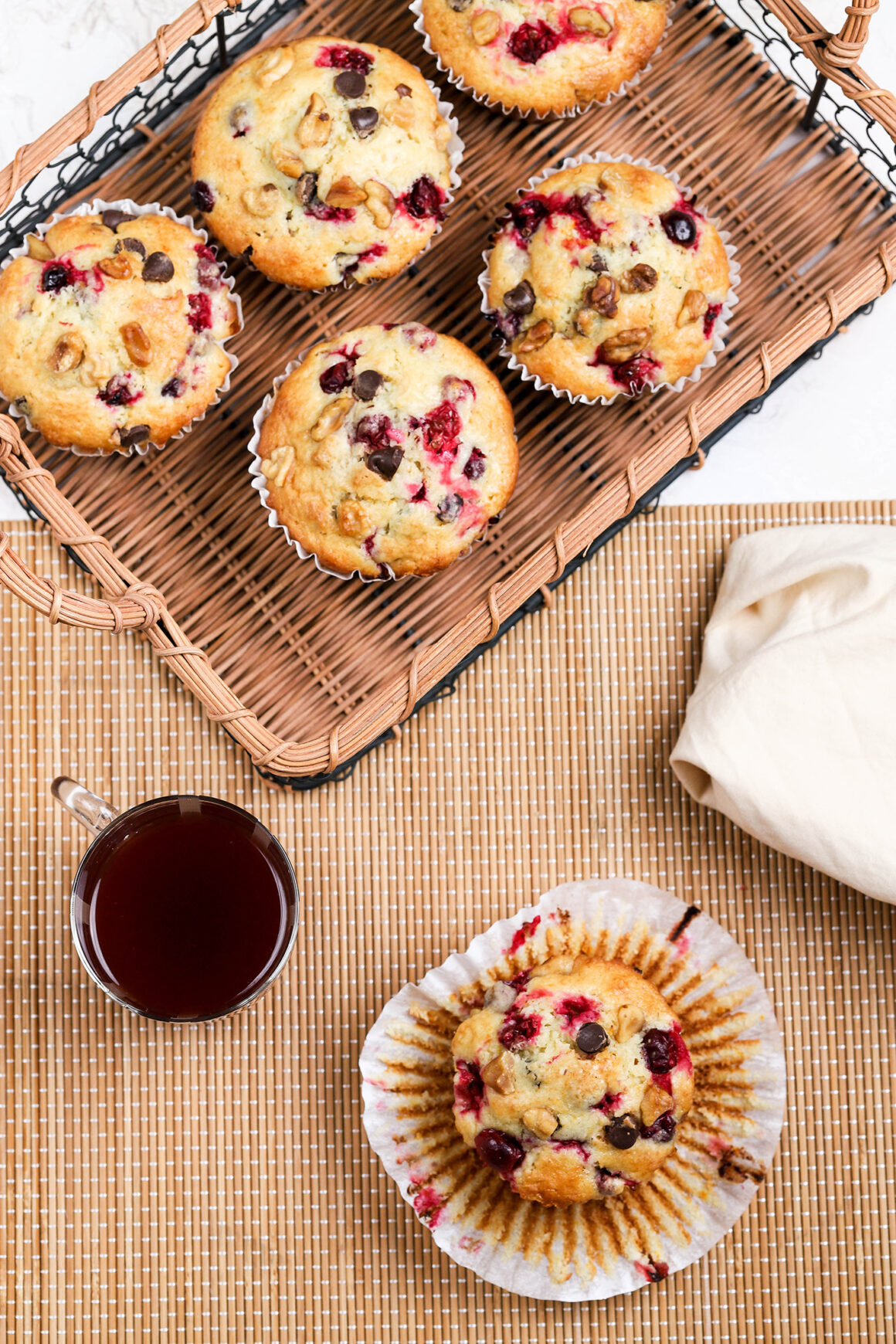 orange muffins with cranberries and walnuts