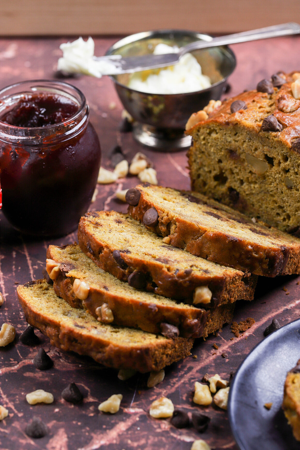 pumpkin banana bread with walnuts and chocolate