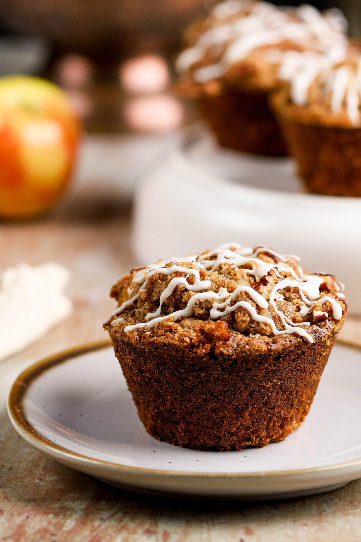 plated apple streusel muffin