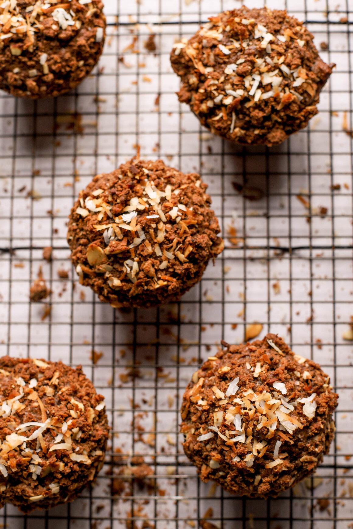 fresh baked chocolate banana coconut muffins