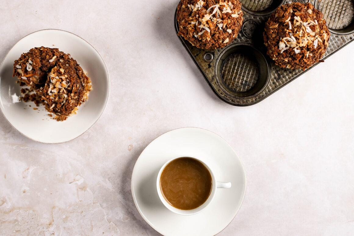 chocolate banana coconut muffin with coffee