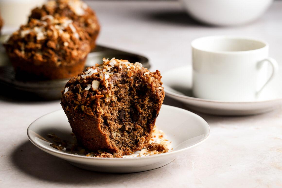 plated chocolate banana muffin