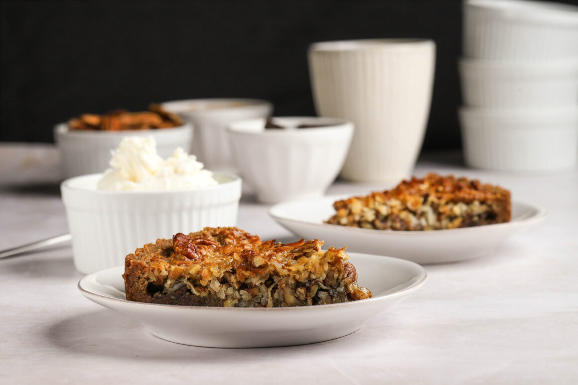 pecan tart slice wide