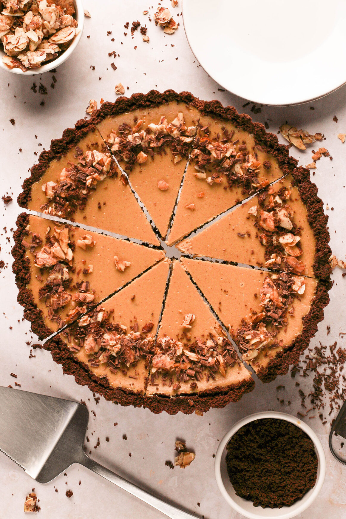 sliced almond cappuccino cheesecake tart