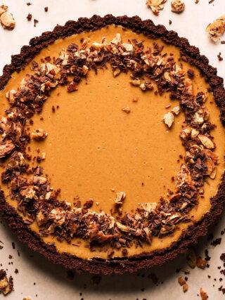 almond cappuccino cheesecake tart