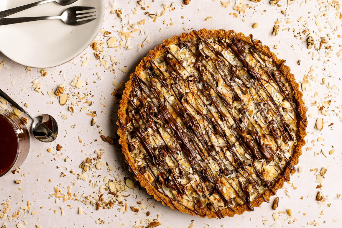chocolate coconut tart with marshmallow