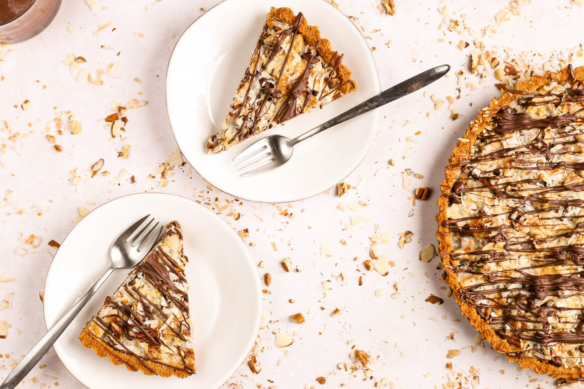 slices of chocolate nut coconut tart