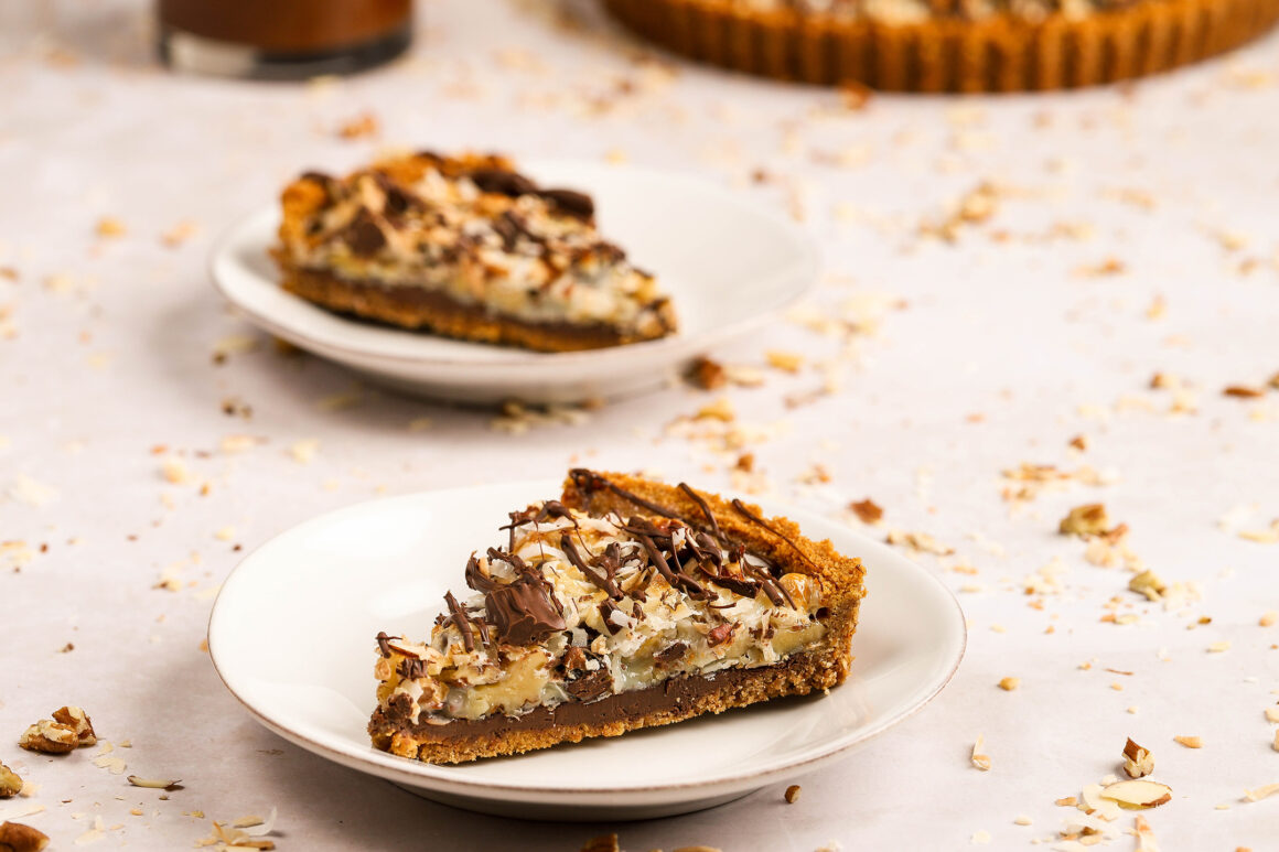 chocolate coconut tart with nuts and marshmallows