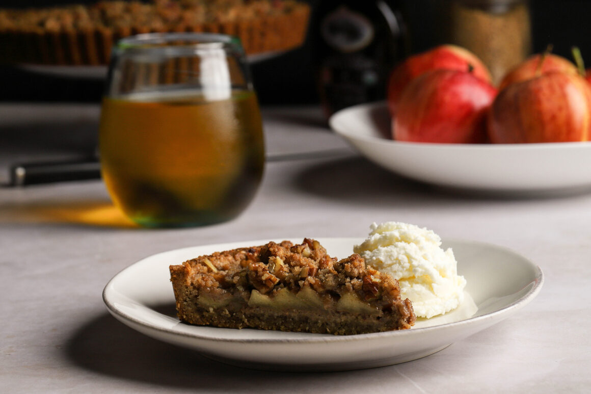 caramelized apple streusel tart closeup
