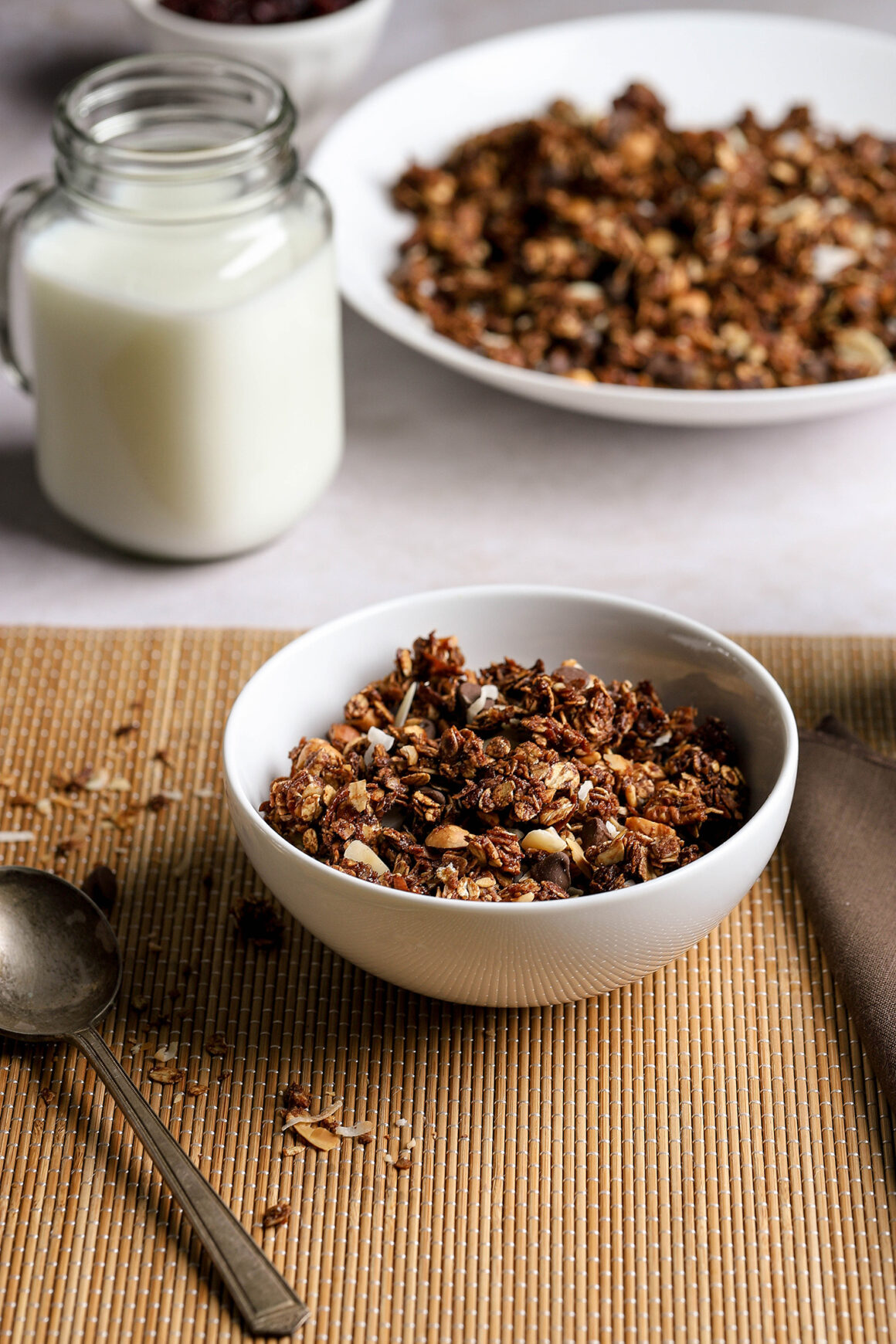 chocolate granola cereal with milk