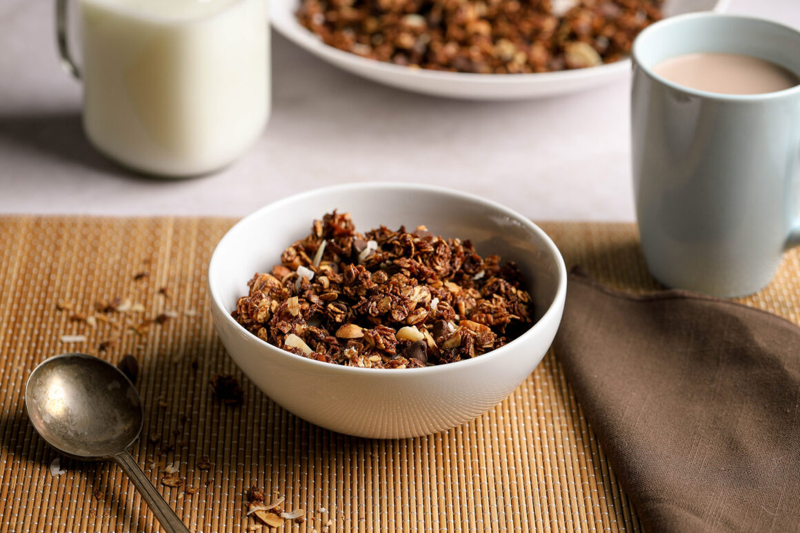 chocolate granola with chocolate chips and nuts