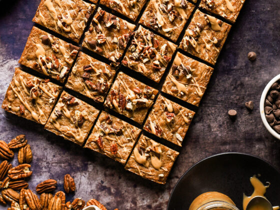 espresso blondies with dark chocolate and pecans