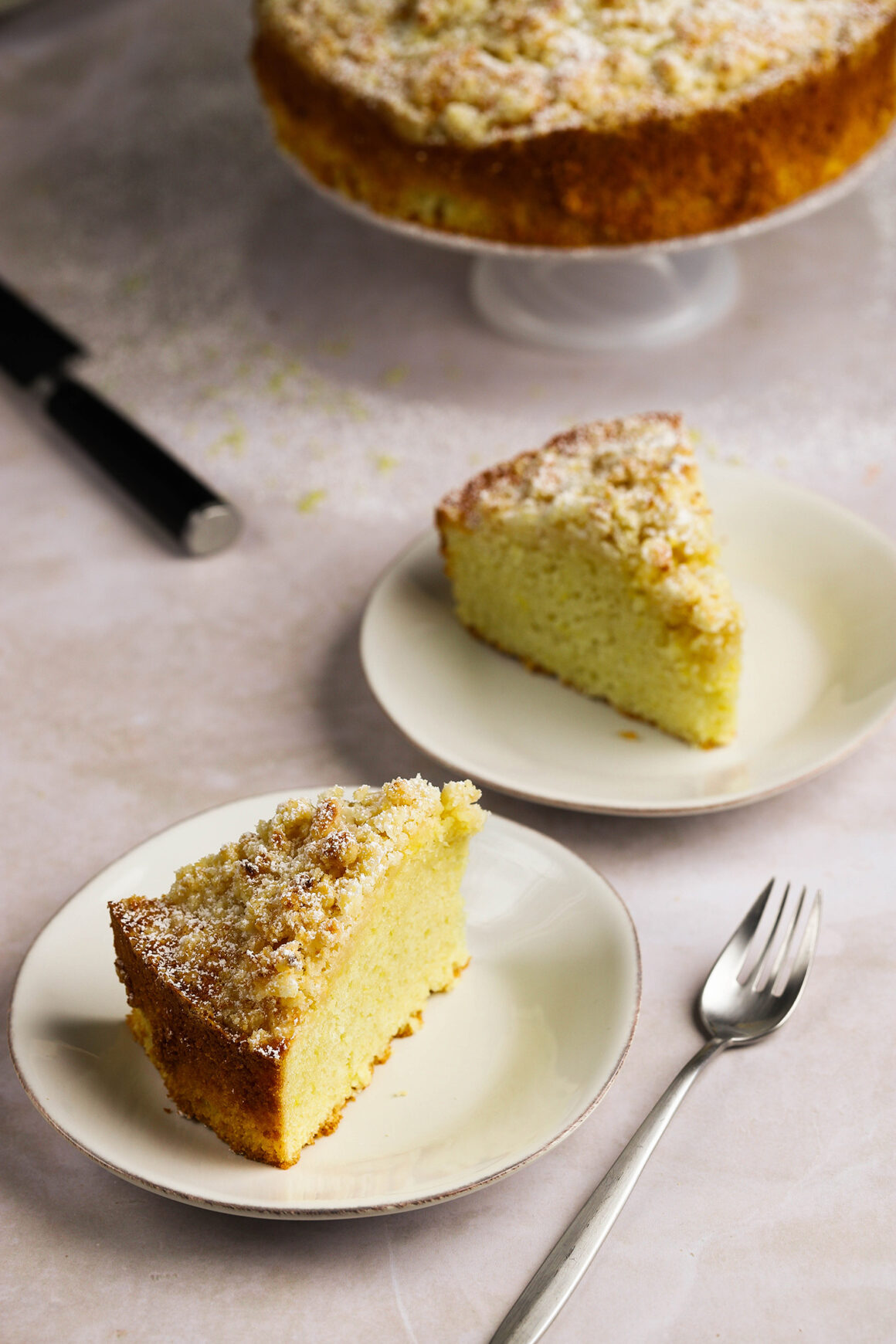 plated lemon cream crumble cake