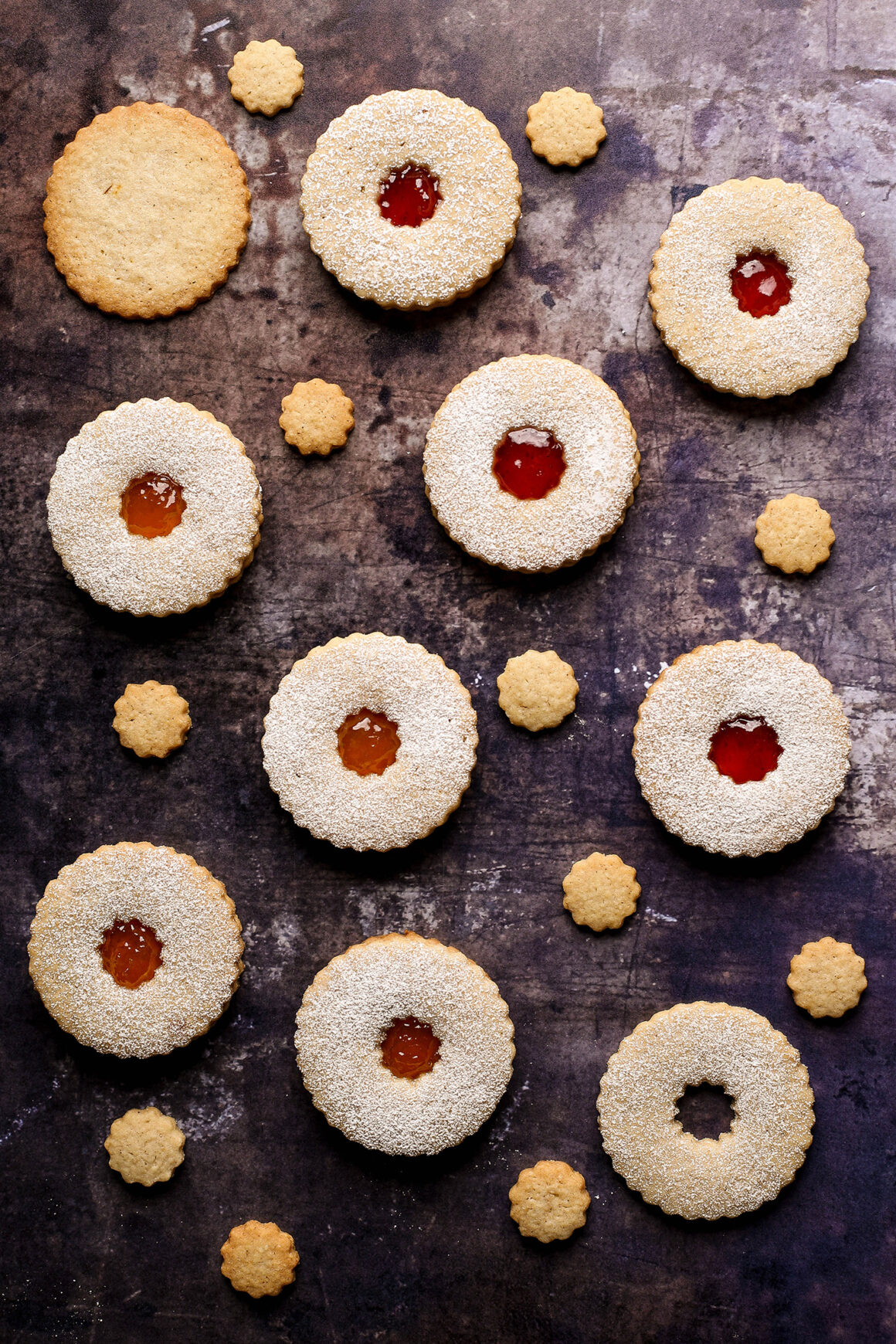 raspberry and apricot linzer cookies