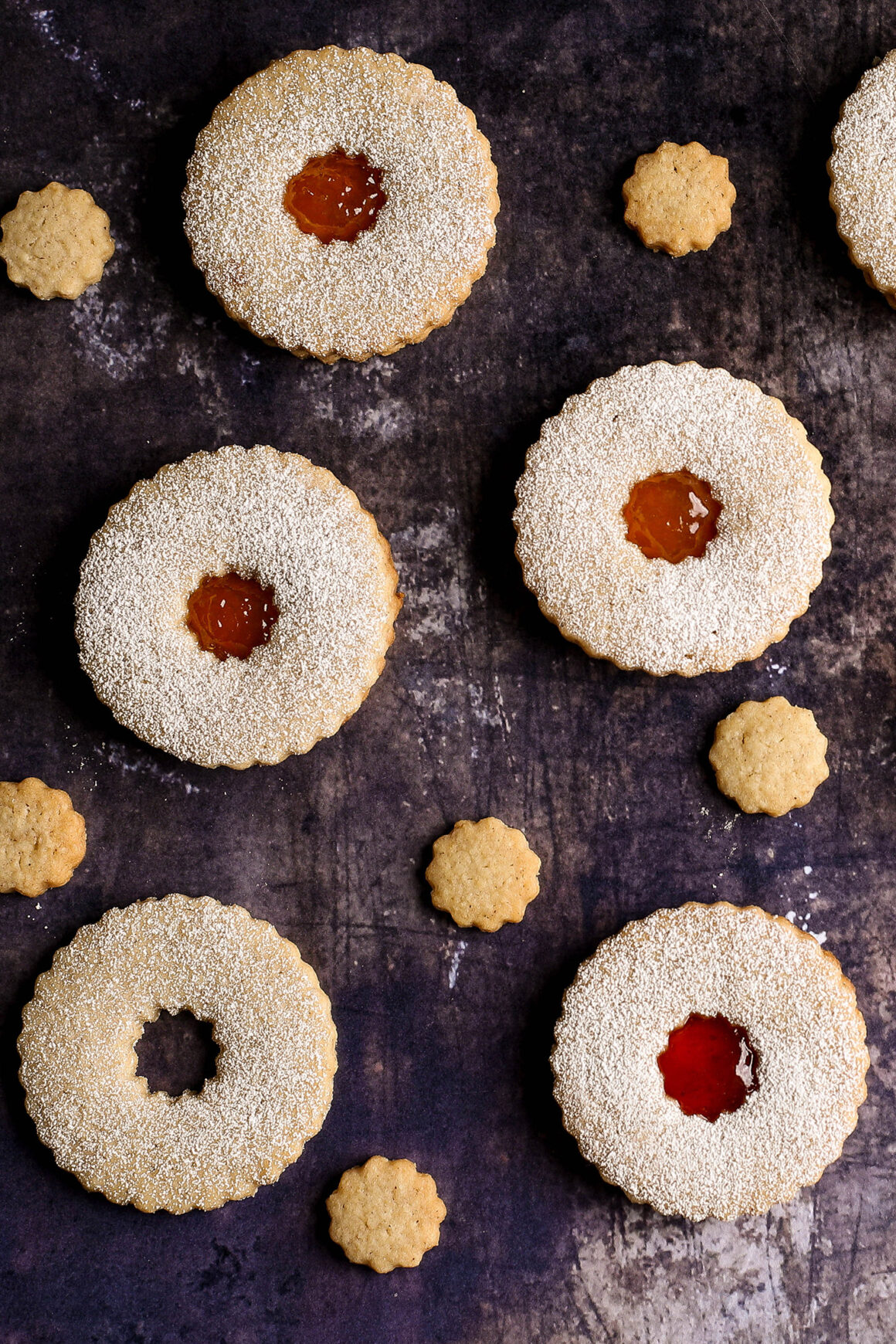 linzer cookies with cutouts