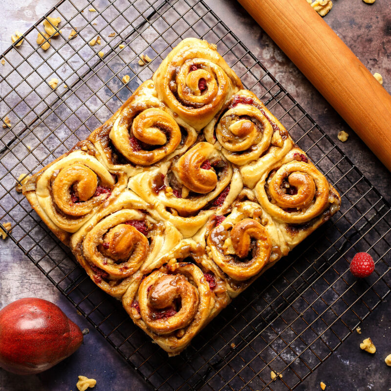 pear raspberry walnut sweet rolls