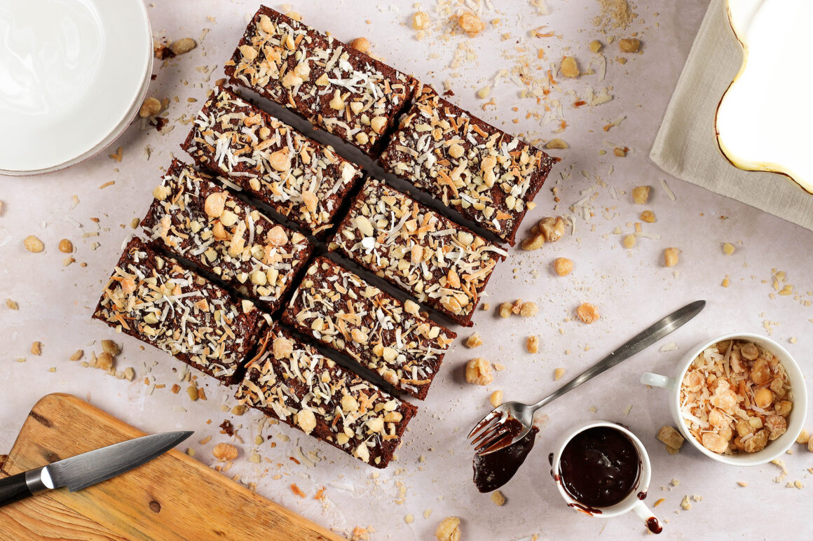 brown sugar brownies with candied macadamias