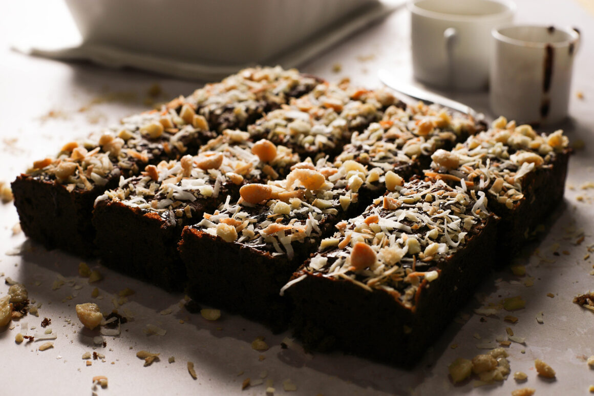 toasted coconut and macadamia nut topped brownies