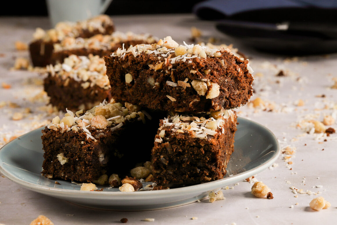 brownies with macadamias and coconut