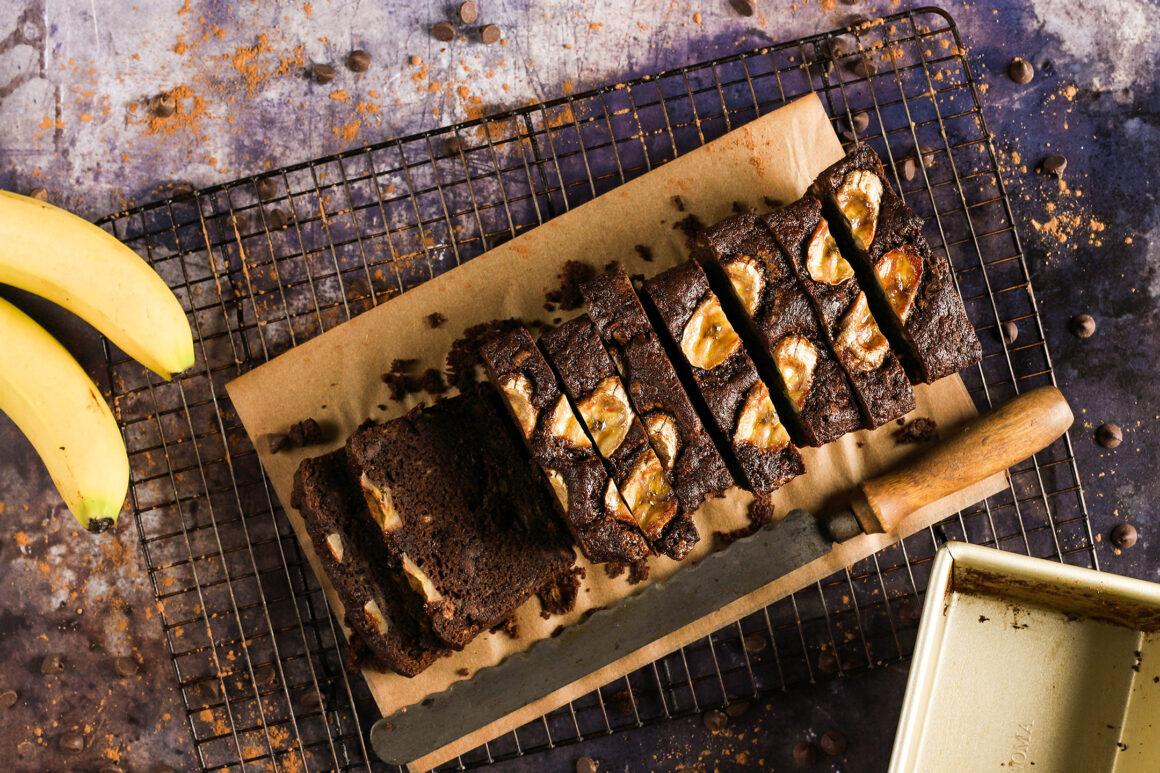 sliced chocolate banana bread loaf