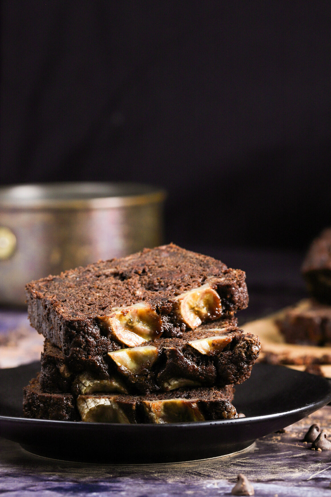 plate of chocolate banana bread slices