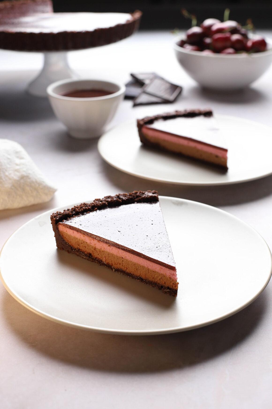 chocolate crust cherry chocolate cheesecake tart
