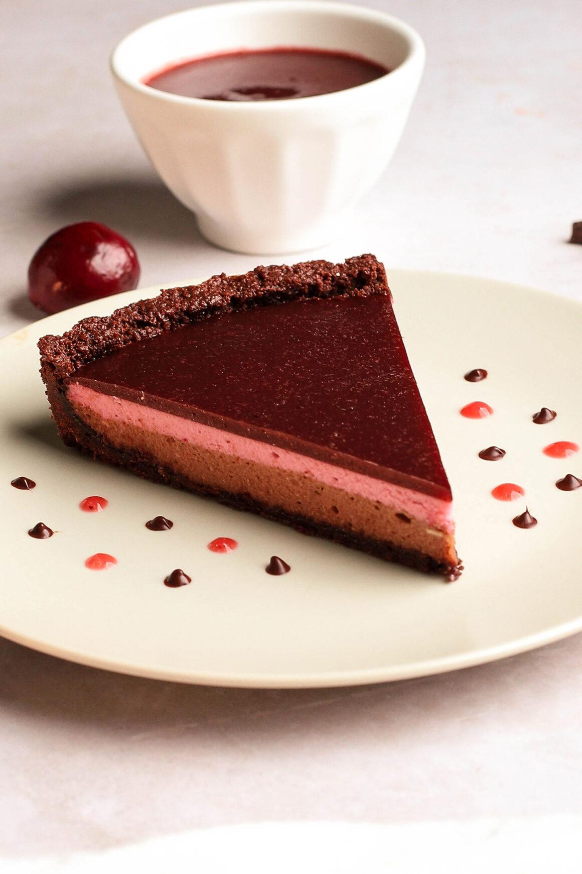 cherry chocolate cheesecake tart slice