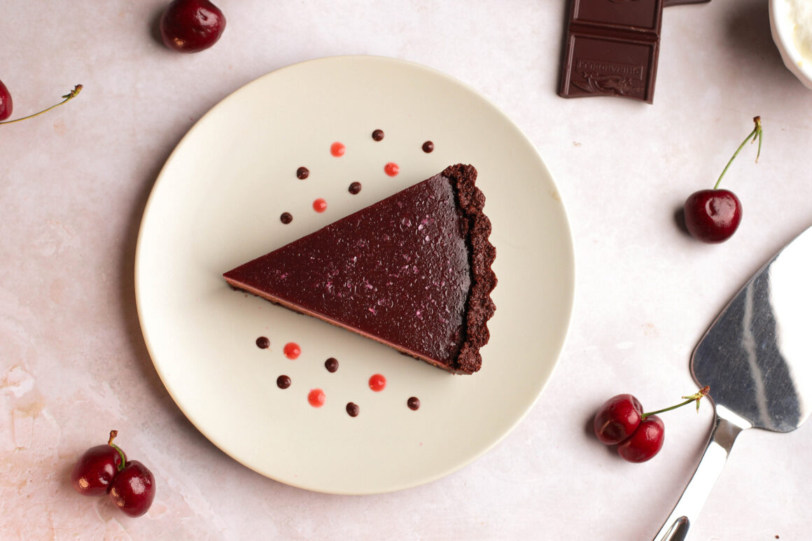 fresh cherry dark chocolate cheesecake tart