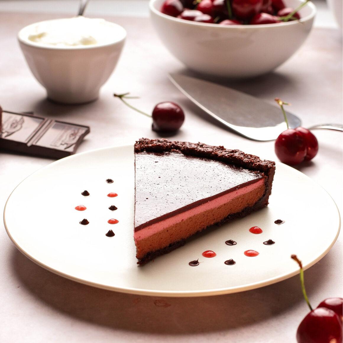 cherry chocolate cheesecake tart