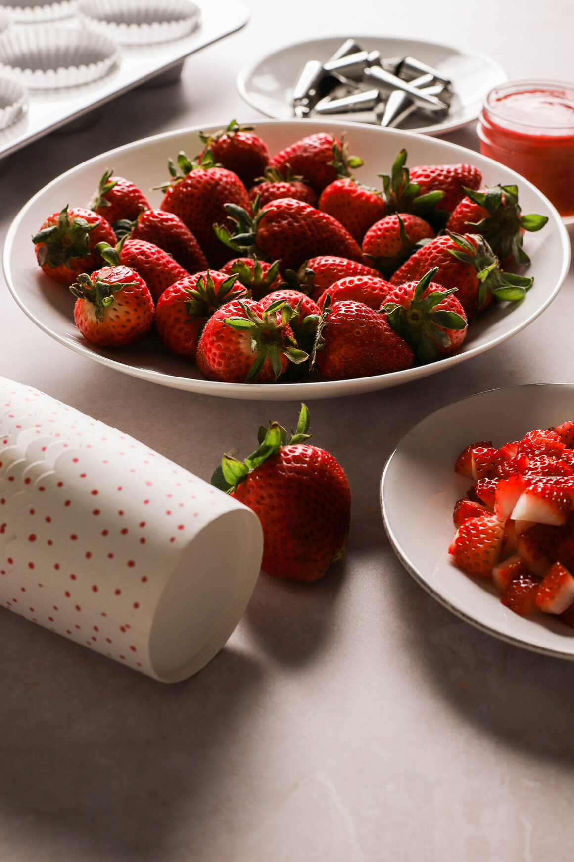 whole and diced fresh strawberries