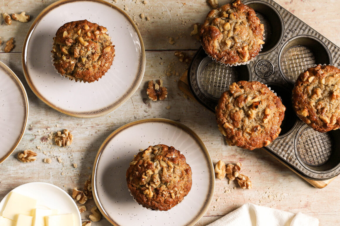 plated banana bread muffins