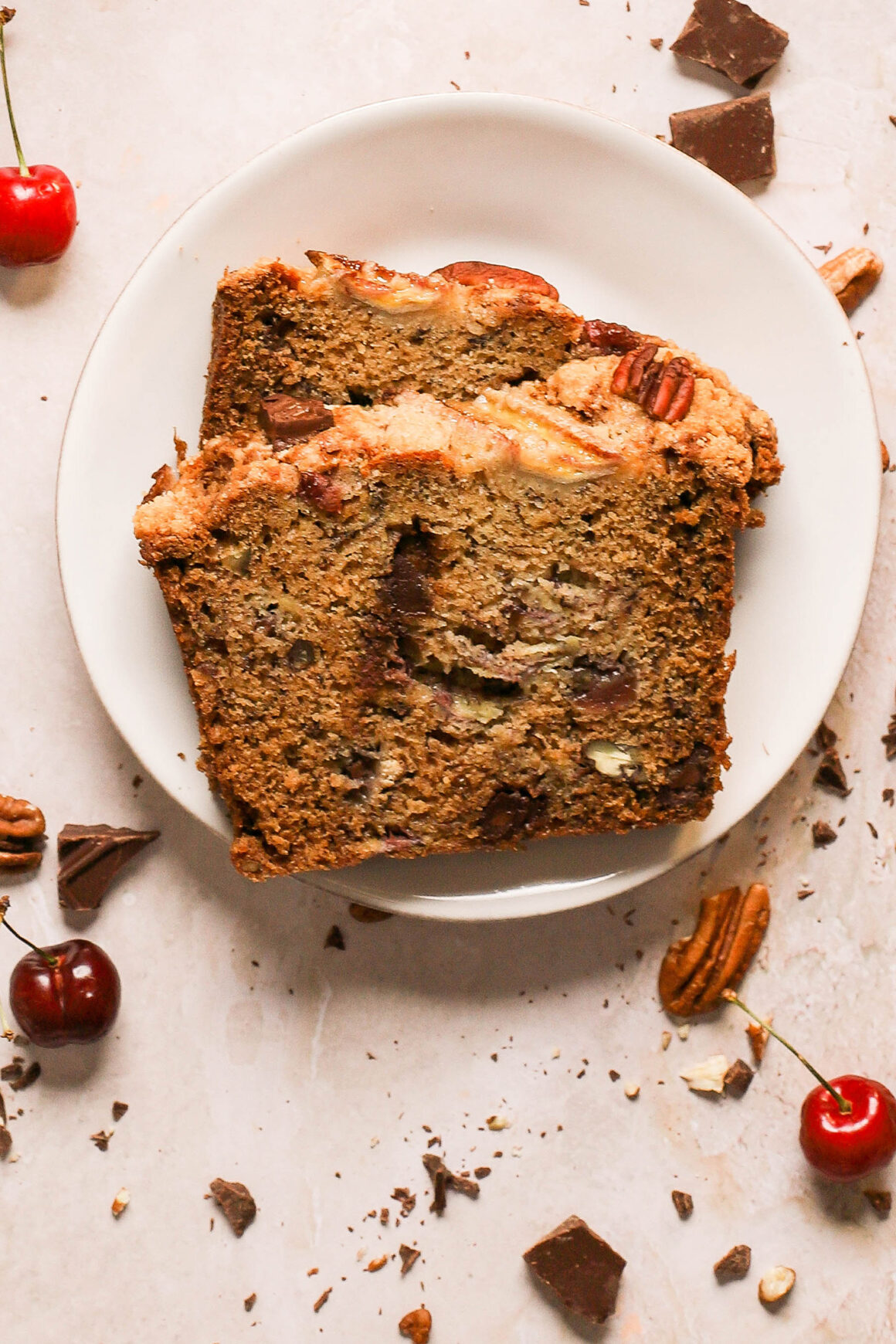 banana bread with cherries and pecans