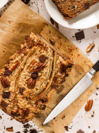 banana bread with cherries, chocolate and pecans